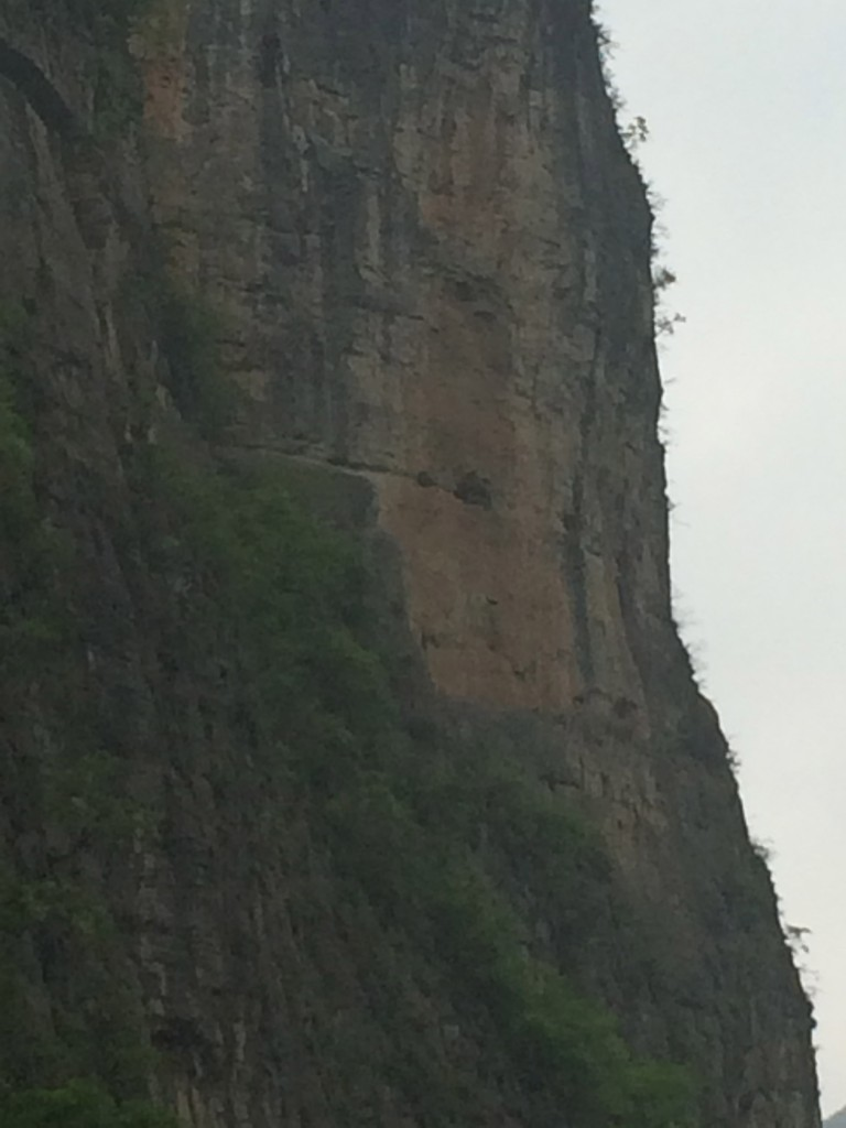 Hanging coffin - bigger of two caves right of horz slash